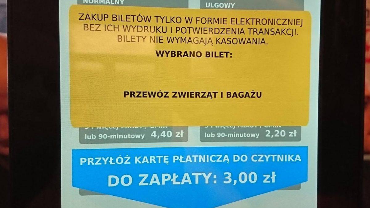 Interfejs urządzenia do kupna biletów