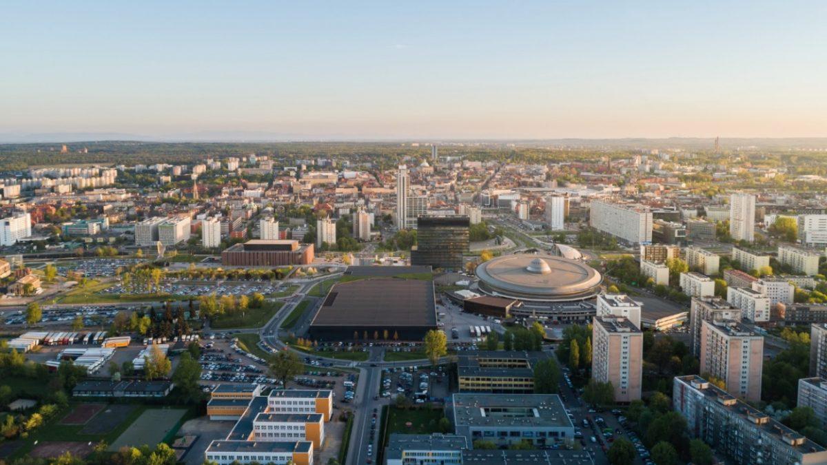 Widok na panoramę Katowic