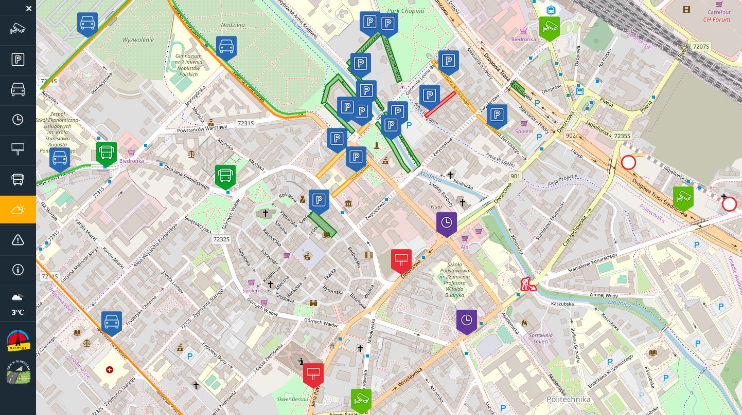 Przykładowa mapa miasta z zaznaczonymi parkingami
