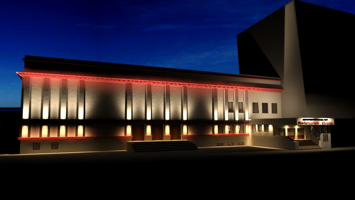Zdjęcie domu kultury w Bieruniu w oświetleniu nocnym