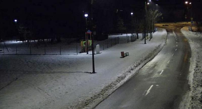 Nocne oświetlenie fragmentu ulicy w Kobiórze