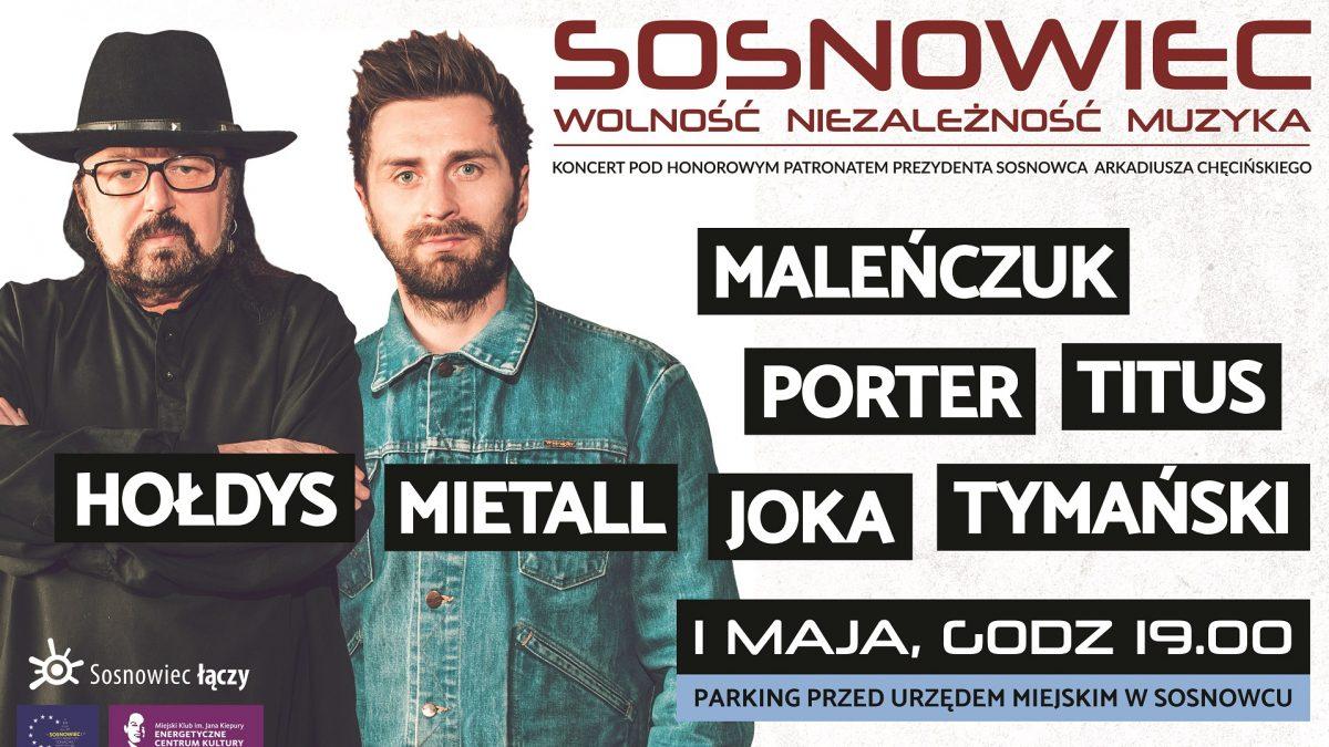 Plakat, zapowiadający koncert z okazji 15-lecia wejścia Polski do Unii Europejskiej. Na plakacie zdjęcia Zbigniewa Hołdysa oraz Mietalla Walusia