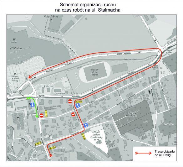 Schemat zmiany organizacji ruchu w Zabrzu na czas przebudowy torowiska wzdłuż ul. Religi w Zabrzu