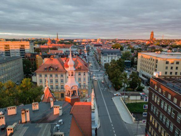 Widok na miasto Gliwice od góry