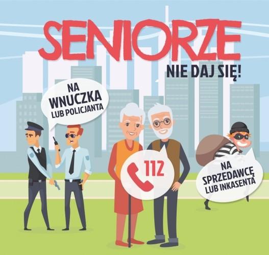 Grafika przedstawiająca seniorów, policjantów i złodzieja