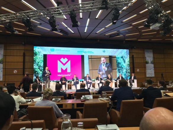 Paneliści podczas dyskusji nad transformacją regionów przemysłowych. Bridge4Cities Wiedeń 2019