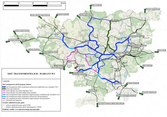 Mapa przedstawiający przebieg torowiska w ramach Kolei Metropolitalnej
