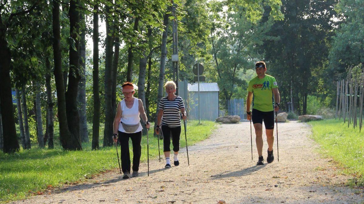 Seniorzy podczas nordic walking