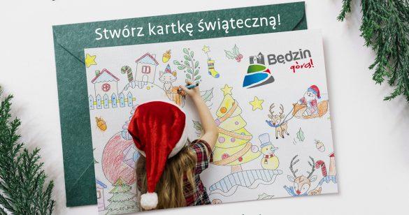 Ilustracja przedstawiająca dziecko w czapce św. Mikołaja tworzące kartk świąteczną