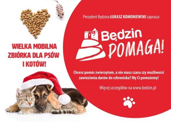 Plakat z napisem Wielka mobilna zbiórka dla psów i kotów ze zdjęciem zwierząt
