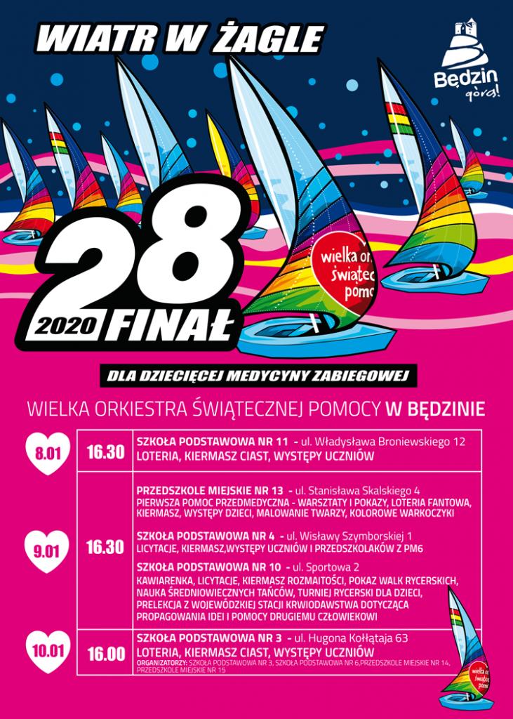 Plakat Wośp z tegorocznym motywem graficznym przedstawiającym kolorowe żaglowce oraz programem