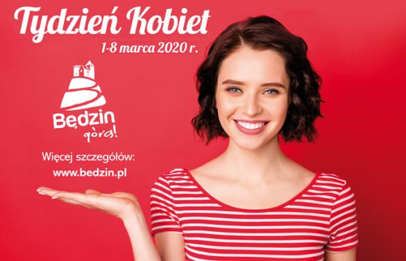 Plakat przedstawiający młodą kobietę na czerwonym tle oraz napis Tydzień Kobiet