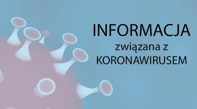 Zdjęcie z informacją związaną z koronawirusem