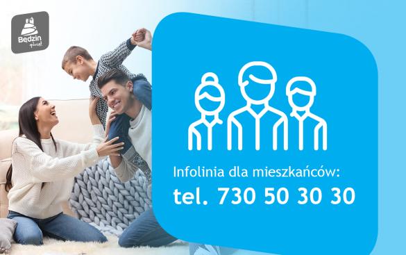 Infografika przedstawiajaca zdjęcie rodziców i dziecka oraz napis infolinia dla mieszkanców tel. 730 50 30 30