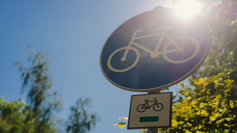 Znak informujący o drodze rowerowej zrobiony na tle drzew oraz świecącego słońca
