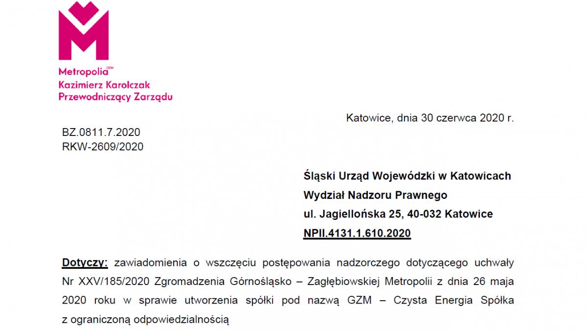 Zdjęcie przedstawia nagłówek pisma z wyjaśnieniami, które zostało przekazane do Urzędu Wojewódzkiego. W lewym górnym rogu znajduje się logo Metropolii