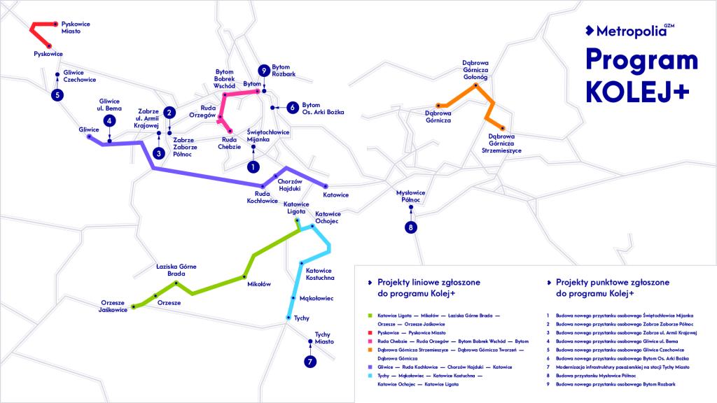 """Mapa przedstawiające zaznaczone inwestycje, które zostały zgłoszony do programu """"Kolej Plus"""""""