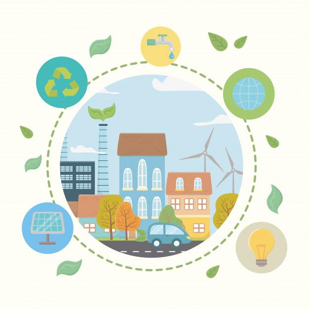 plakat ilustrujący ekologiczne rozwiązania