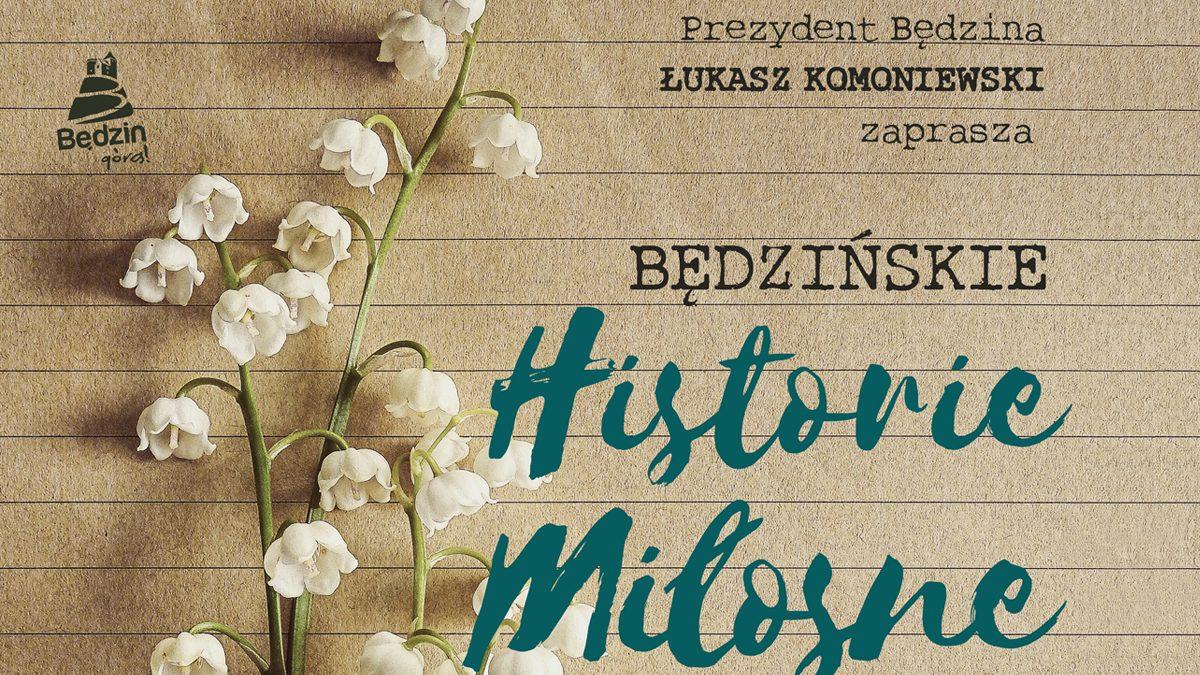 Ilustracja z napisem Będzińskie historie miłosne oraz kwiatem konwalii na tle pożółkłej kartki zeszytu