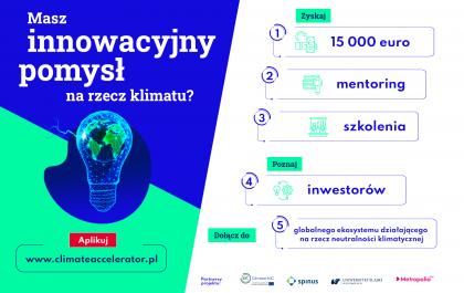 Plakt promujący konkurs grantowy dla startupów Climate Accelerator