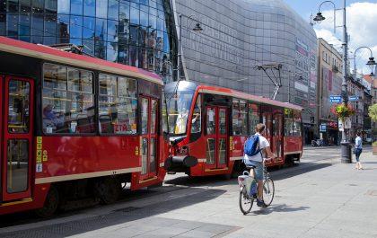 Tramwaj w centrum Katowic