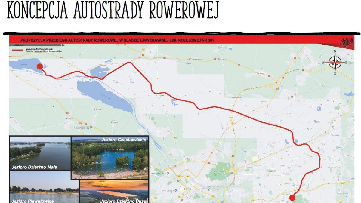 Mapa z przebiegiem drogi rowerowej