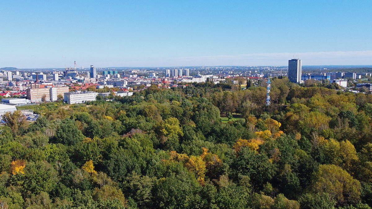 Panorama Katoic. Widok z drona na Park Kościuszki