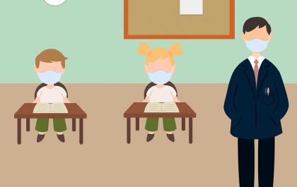 Grafika. Nuczyciel i uczniowie w maseczkach podczas lekcji