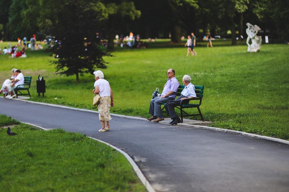 Seniorzy w parku miejskim