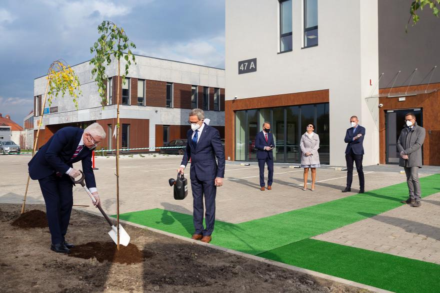 Sadzenie drzew na nowym osiedlu