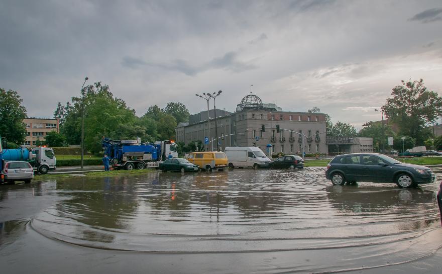 Zalane ulice w Gliwicach