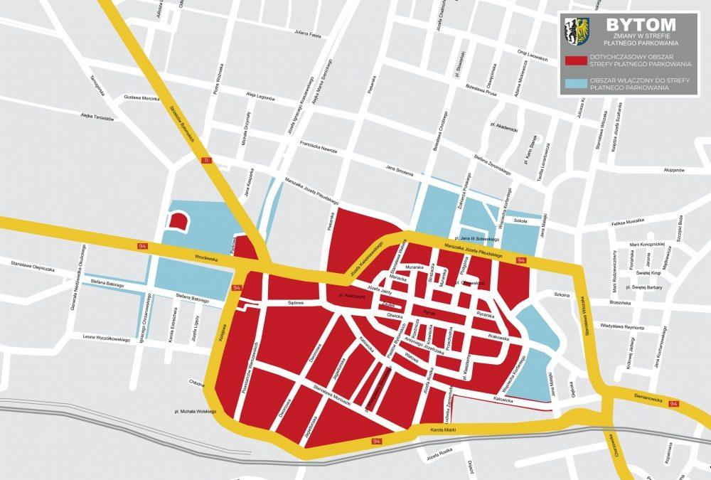 Mapka ze strefą parkowania