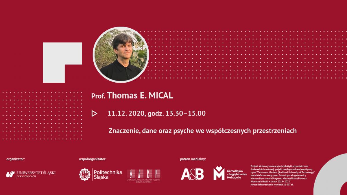 Grafika ze zdjęciem prof. Micala oraz informacją o datcie, kiedy odbędzie się otwarty wykład