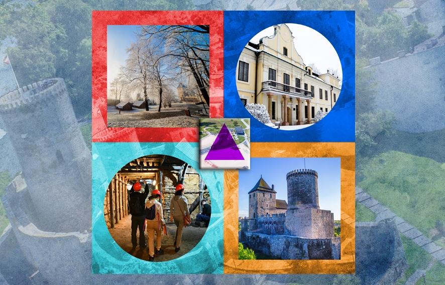 Ilustracja przedstawiająca zdjęcia zabytków Będzina w formie figur geometrycznych: kół, kwadratów i trójkata