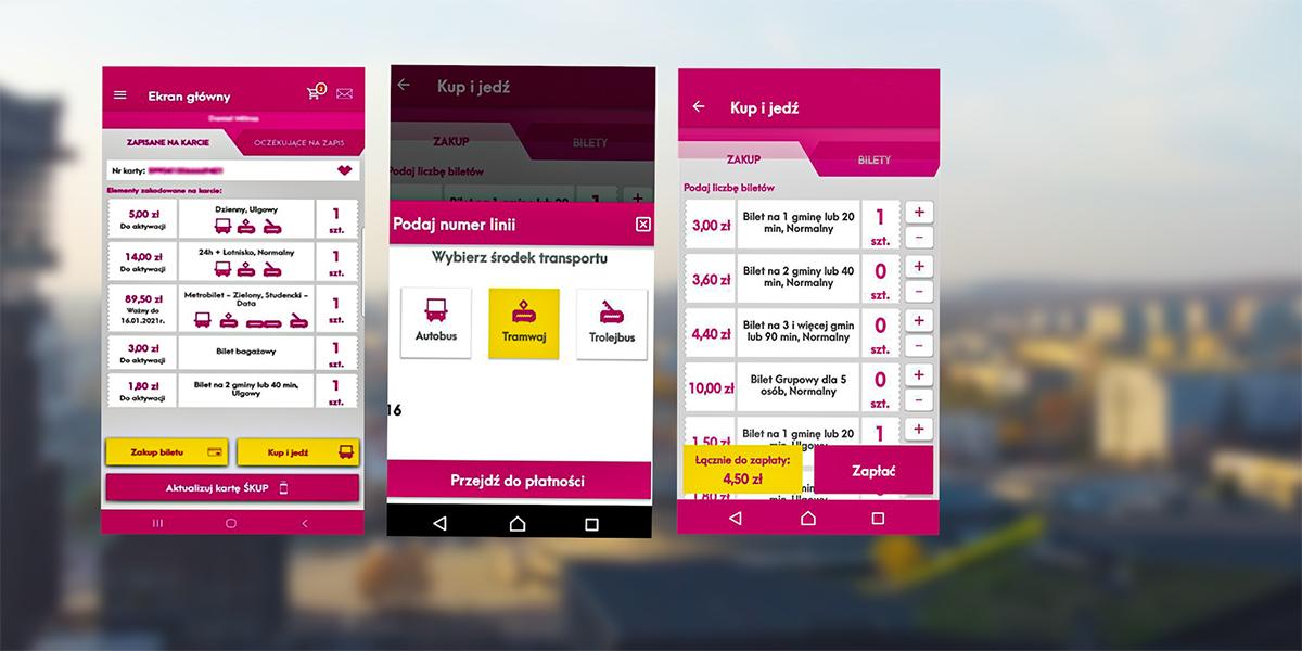 Zrzut ekranu z aplikacji, gdzie można kupić bilety jednorazowe na tle rozmytego zdjęcia autobusu