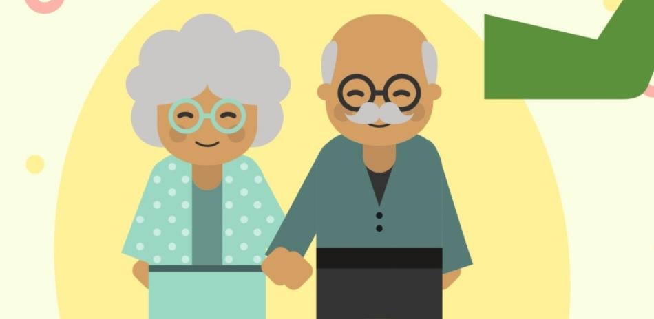 Grafika przedstawiająca starszą parę