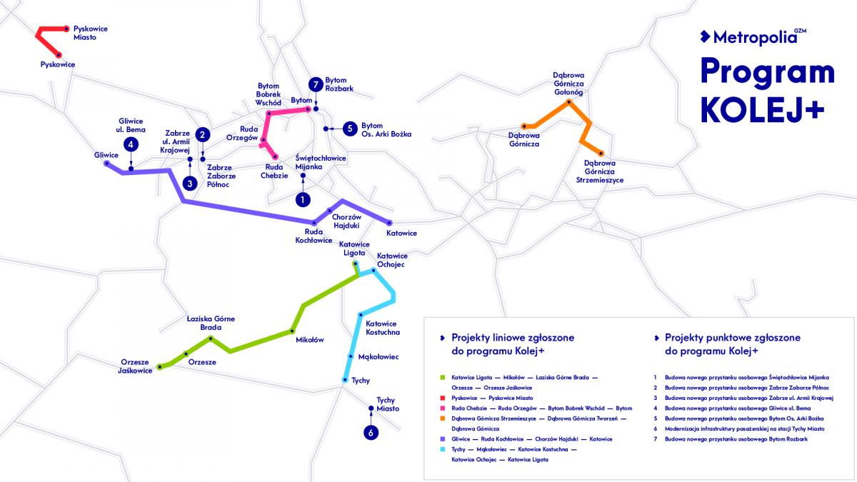 Mapa inwestycji kolejowych zgłoszonych przez Metropolię do programu Kolej PLUS