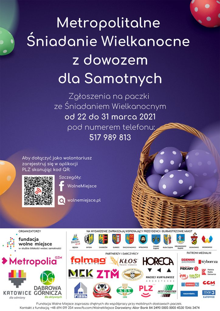 Plakat informacyjny zapowiadający Śniadanie Wielkanocne dla samotnych