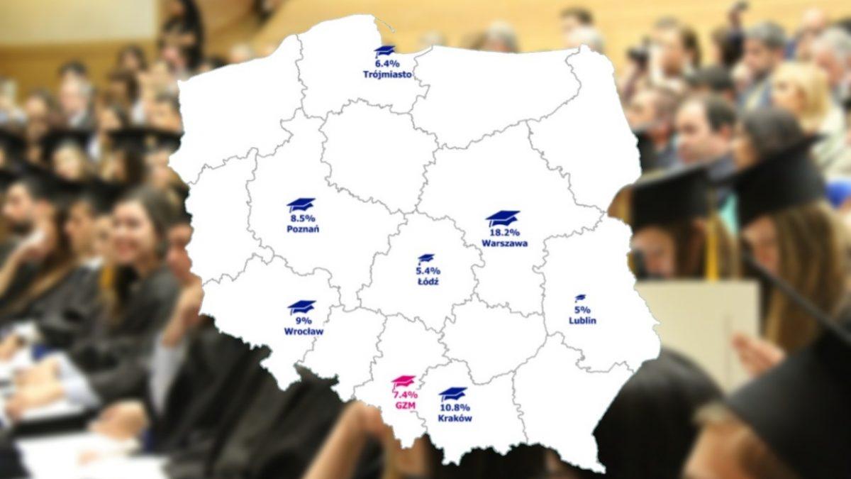 Mapa z procentem studentów w największych miastach w Polsce