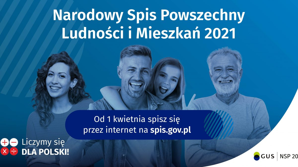 Banner informacyjny o Narodowym Spisie Powszechnym, osoby na niebieskim tle, napis