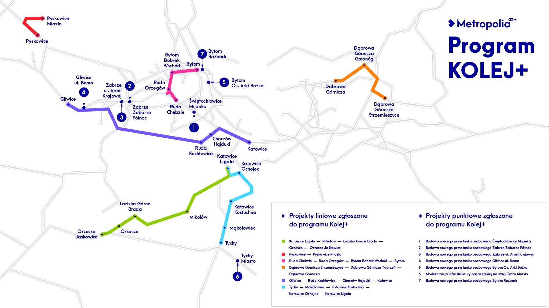 Mapa przedstawiająca inwestycje w ramach KOLEJ PLUS