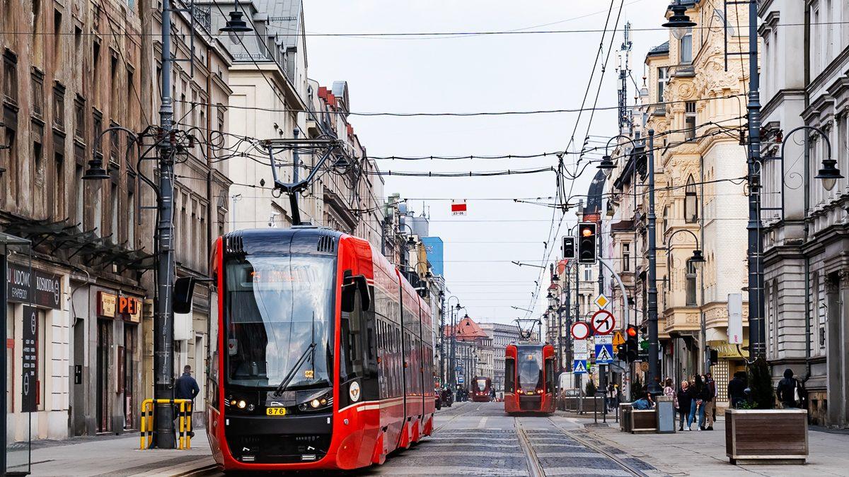 Ruch tramwajów na ul. 3. maja w Katowicach