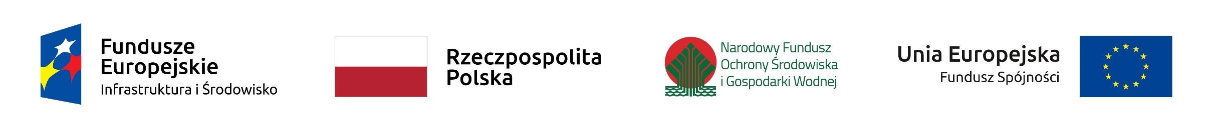 Logotypy: Fundusze Europejskie - Infrastruktura i Środowisko, Rzeczpospolita Polska, Narodowy Fundusz Ochrony Środowiska i Gospodarki Wodnej, Unia Europejska - Fundusz Spójności