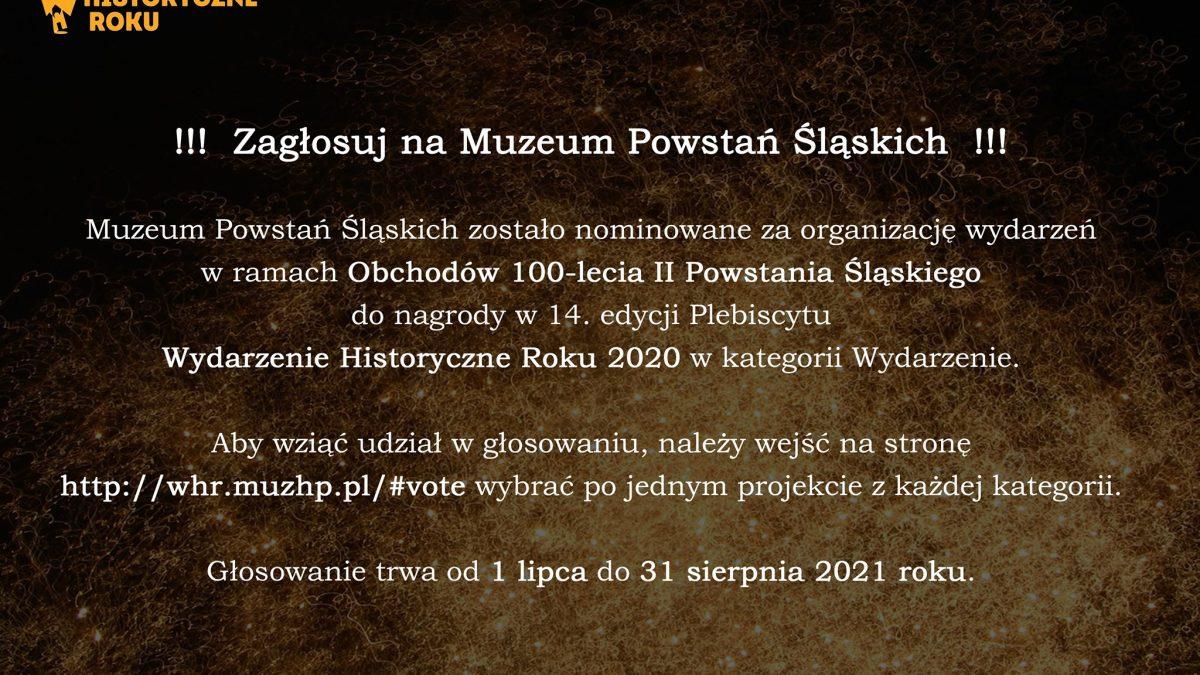 Baner zachęcający do oddania głosu na Muzeum Powstań Śląskich
