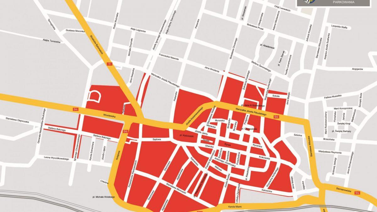 Mapa strefy płatnego parkowania