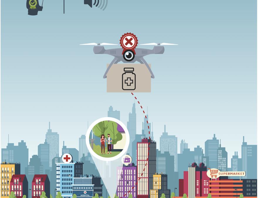 Grafika przedstawiająca drona w mieście