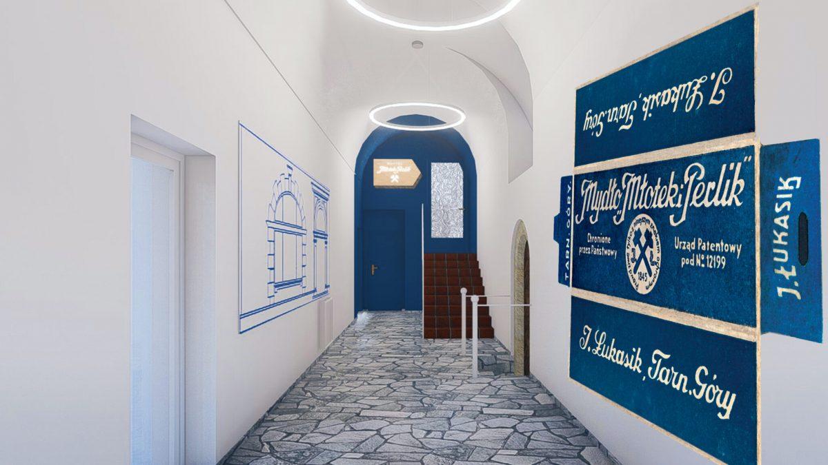 Korytarz w nowym hostelu w Tarnowskich Górach