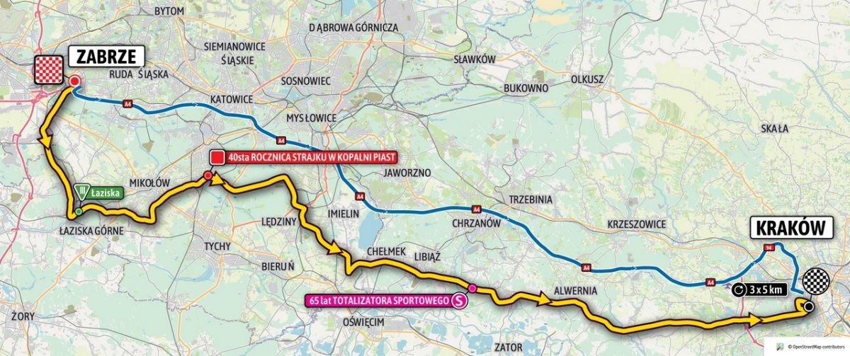 Mapa z zaznaczonym przebiegiem Tour de Pologne