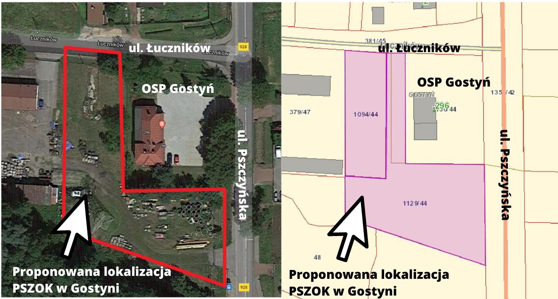 Mapa z zaznaczoną lokalizacją PSZOK