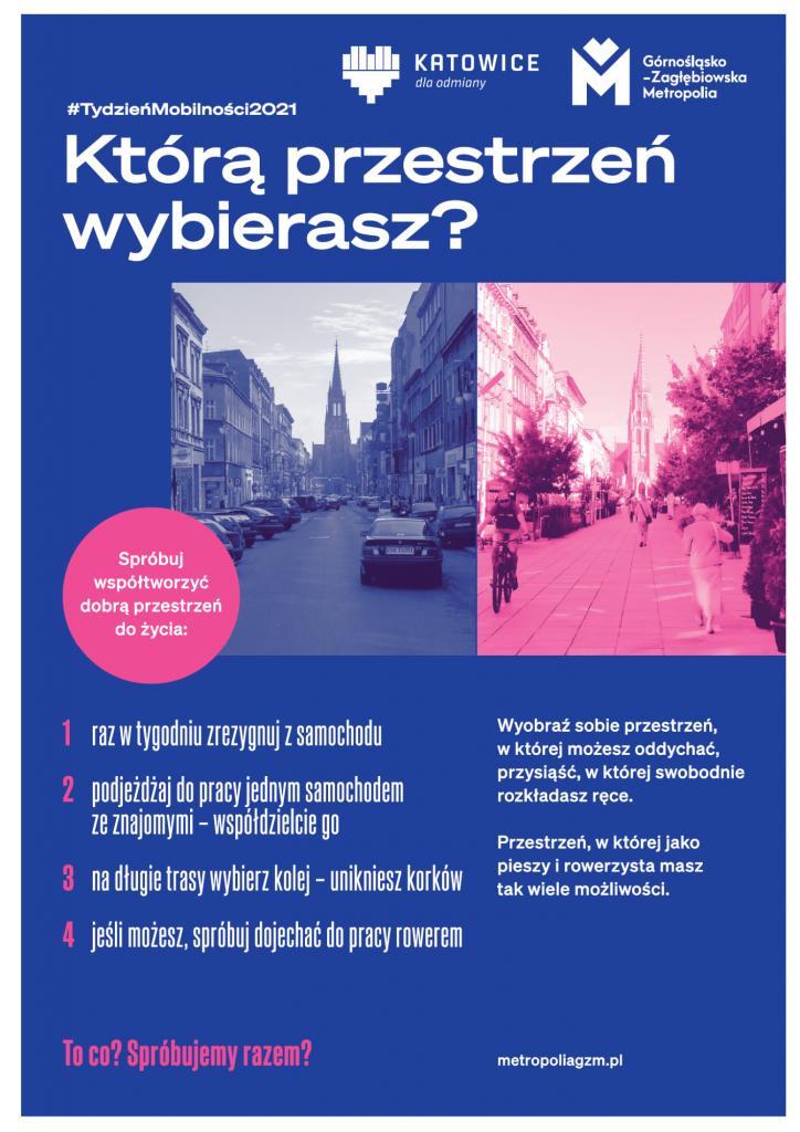 Plakat przedstawiający dwa ujęcia ul. Mariackiej w Katowicach: po lewej zdjęcia z zaparkowanymi samochodami, po prawej - po zamknięciu ulicy dla ruchu kołowego